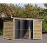 Chenil du chien Forz avec niche pour chien isolée, plate-forme et cadre en bois