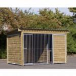 Chenil pour chien Forz avec niche isolée, plate-forme et cadre en bois