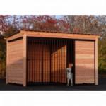Chenil Forz noir avec niche isolée pour l'hiver avec cadre en bois de Douglas