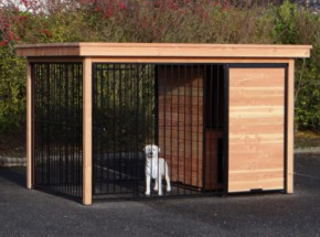 Chenil Fix Noir avec cadre en bois de Douglas et niche pour chien