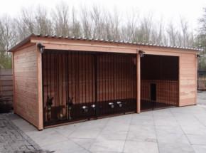 Grand chenil pour chien Forz en bois de Douglas avec niche isolée