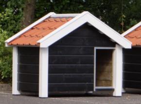 Niche pour chien Reno noire/blanche, dimensions 160x106x123 cm