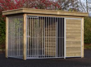Chenil pour chien Fix avec cadre en bois et toit de luxe