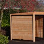 Chenil FORZ noir avec toit et cadre en bois de douglas