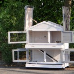 Clapier en bois avec toit en charnières