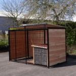 Chenil FERM Noir avec toit et niche pour chien Select 1,5 x 3m